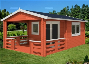Double Door Apex Log Cabin 472 - Verandah, Large Panes