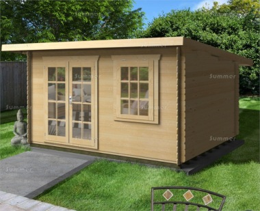 28mm Log Cabin 059 - Pent, Georgian, Double Door