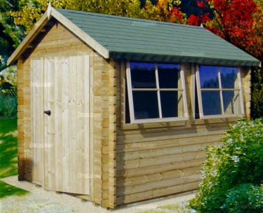 Log Cabin Shed 232 - Apex Roof, Fully Boarded Double Door