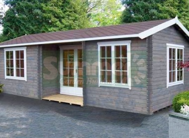 Two Room Side Door Apex Log Cabin 241 - Integral Porch