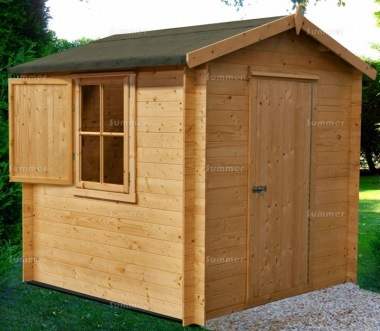 Log Cabin Shed 266 - Apex Roof, 19mm Logs, Shutters