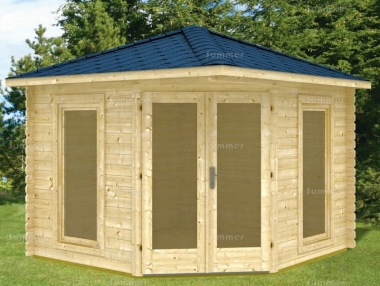 28mm Corner Log Cabin 197 - Large Panes, Double Glazed
