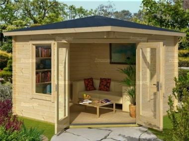 28mm corner log cabin 198 large panes double glazed. Black Bedroom Furniture Sets. Home Design Ideas