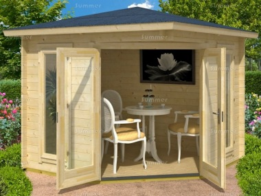 40mm Corner Log Cabin 200 - Large Panes, Double Glazed