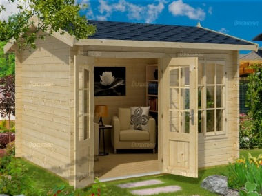Side Door Apex Log Cabin 286 - Double Glazed