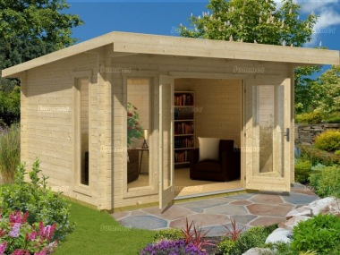 Pent Roof Log Cabin 527 - Double Glazed, Large Panes