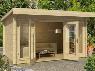 Double Door Pent Roof Log Cabin 53 - Double Glazed