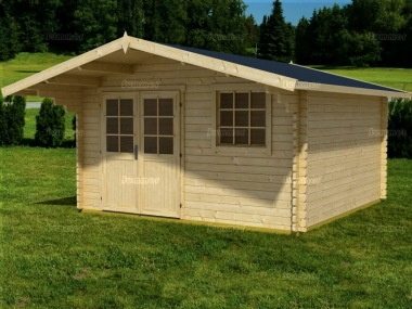 Apex Log Cabin 68 - Large Front Overhang, Double Door