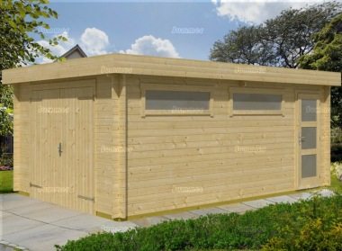 Wooden Log Garage 401 - Pent, Personnel Door