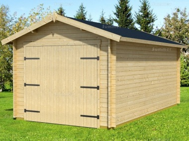Wooden Log Garage 405 - Apex, Hinged Doors