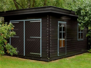 Wooden Log Garage 314 - Pent, Hinged Doors