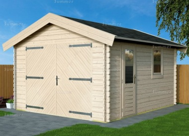 Wooden 45mm Log Garage 673 - Apex, Hinged Doors