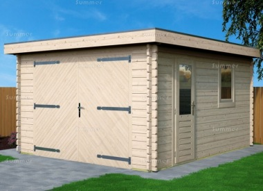 Wooden 45mm Log Garage 677 - Pent, Hinged Doors