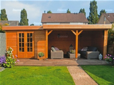 Pent Roof Gazebo 400 - With Integral Summerhouse