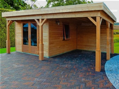 Pent Roof Gazebo 401 - With Integral Summerhouse