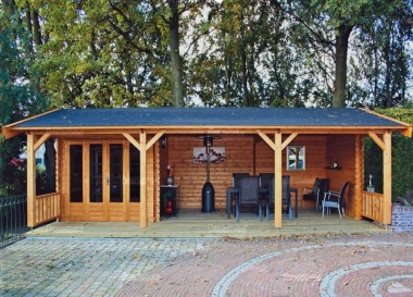 Wooden Apex Gazebo 413 - With Integral Summerhouse
