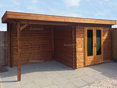 Pent Roof Gazebo 696 - With Integral Summerhouse
