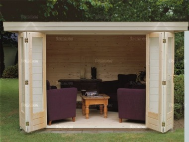 Folding Door Pent Roof Log Cabin 303