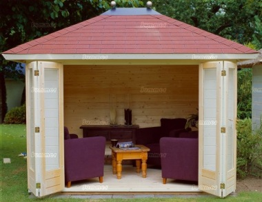Hipped Roof Folding Door Log Cabin 309 - Bespoke