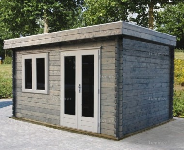 Double Door Pent Roof Log Cabin 669 - Double Glazed