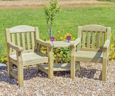 Love Seat 824 - 2 Angled Trays, Pressure Treated