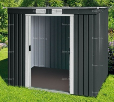Pent Metal Shed 360 - Double Door, Galvanized Steel