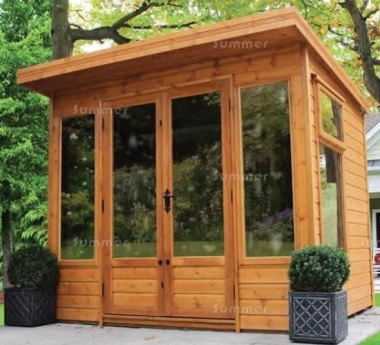 Pent Summerhouse 532 - Low Level Glazing, Double Door