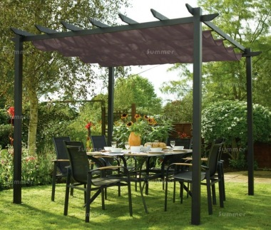Metal Gazebo 442 - Pergola, Aluminium, Retractable Awning