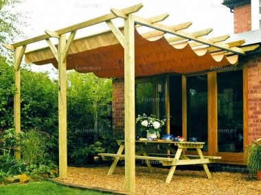 Wooden Gazebo 451 - Lean To Pergola, Retractable Awning