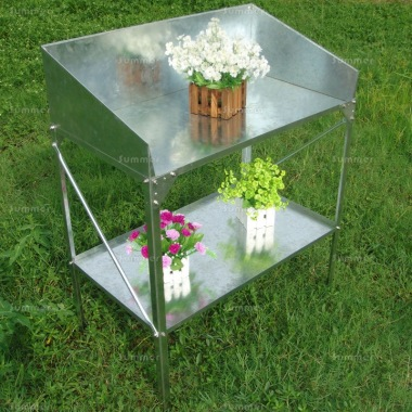 2 Tier Galvanized Steel Potting Bench 393 - High Back & Sides