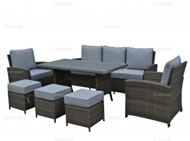 8 Seater Rattan Dining Set 434 - Steel Frame, 100mm Cushions