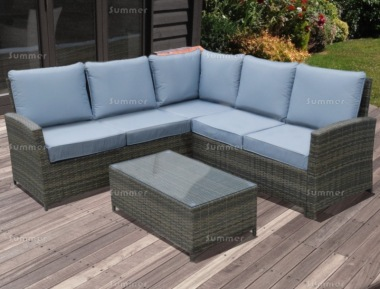 6 Seater Rattan Lounge Set 611 - Aluminium Frame, 100mm Cushions