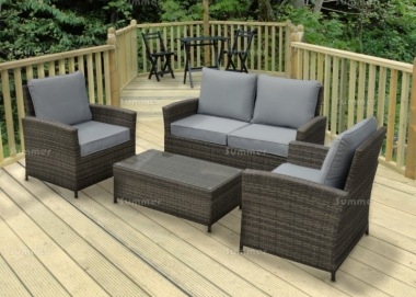 4 Seater Rattan Lounge Set 621 - Aluminium Frame, 100mm Cushions