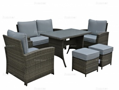 6 Seater Rattan Dining Set 624 - Steel Frame, 100mm Cushions