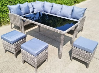 7 Seater Rattan Dining Set 230 - Steel Frame, 60mm Cushions