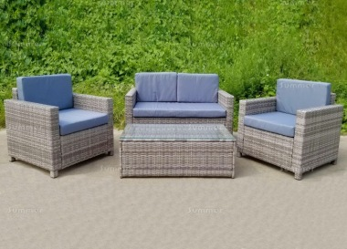 4 Seater Rattan Lounge Set 240 - Steel Frame, 80mm Cushions
