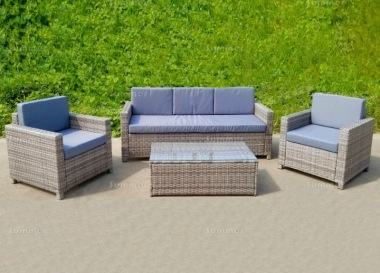 5 Seater Rattan Lounge Set 243 - Steel Frame, 80mm Cushions