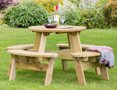 Round Picnic Table 844 - 3ft, Pressure Treated