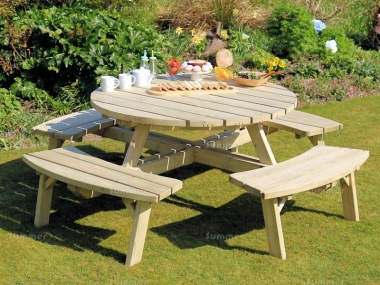 8 Seater Round Picnic Table 840 - 4ft 5in Table, Pressure Treated