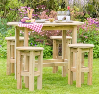 Pressure Treated 4-6 Seater Dining Set 888 - Oval Table, Stools