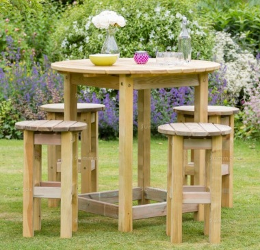 Pressure Treated 4-6 Seater Dining Set 890 - Round Table, Stools