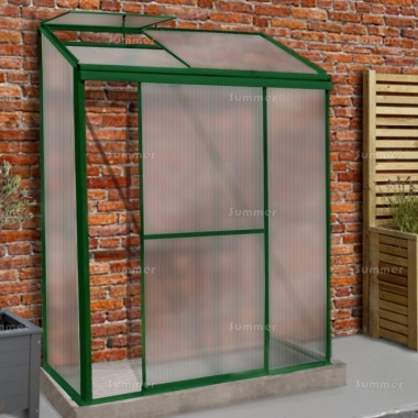 Aluminium Lean To Greenhouse 311 - Polycarbonate, Silver or Green Finish