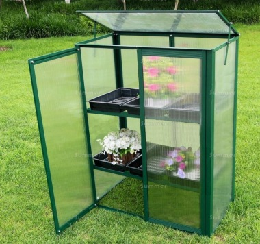 Growhouse 381 - Polycarbonate, 2 Shelves, Green Finish