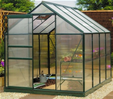 Aluminium Greenhouse 101 - Green with Polycarbonate