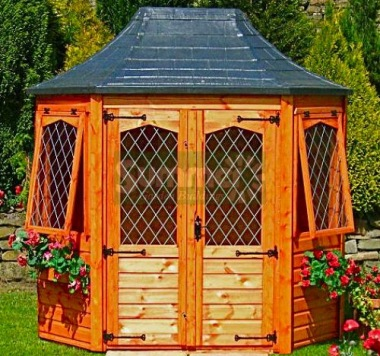 Leaded Octagonal Summerhouse 163 - Slate Effect Roof