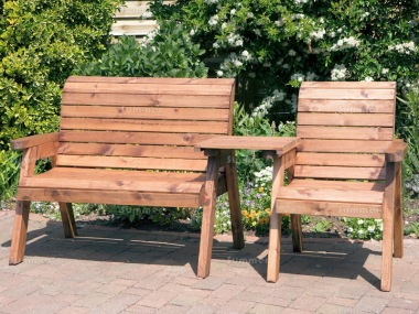 3 Seater Bench Set 477 - Bench, Armchair, Square Tray