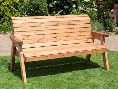 3 Seater Bench 436 - High Back, Slatted Seat and Back