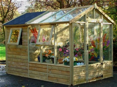 Pressure Treated Greenhouse 682 Built In Shed