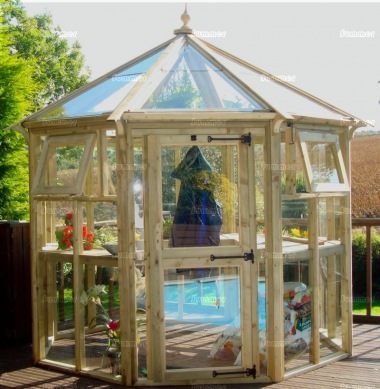 Pressure Treated Octagonal Greenhouse 683 - Hinged Door