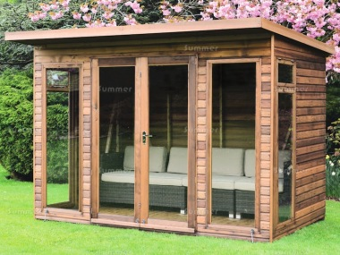 Pent Summerhouse 47 - Low Level Glazing, Double Door